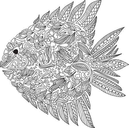 dibujos lineales: Composici�n con peces abstractos lindos adornadas con flores y hojas. Mano dibuja peces floral. Vector
