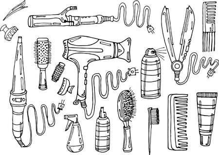 Set de coiffure: sèche-cheveux, fer à défriser les cheveux, fer à friser, peigne, la laque et d'autres moyens Banque d'images - 43456474