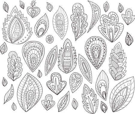 Set of 37 abstract floral elements for creating your own designs.Contours of leaves and petals with ornaments. Doodle art. Vector