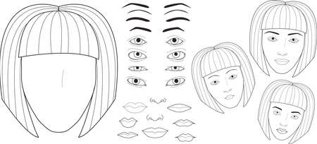 eyebrows: Creation of a womans face. Set to create a face charts. Different forms of lips, eyebrows, eyes. Make your own Face Chart. Vector