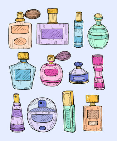 Set of hand drawn perfumes. Vector perfume collection. Illustration