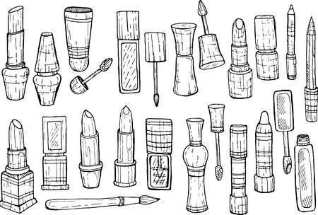 glosses: Set of make-up products: lip balms, lipsticks, lip glosses and pencils. Vector Illustration