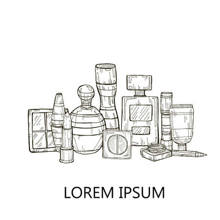 Set di prodotti per il make-up e profumi. Vettore disegnato a mano collezione di make-up. Archivio Fotografico - 43846420