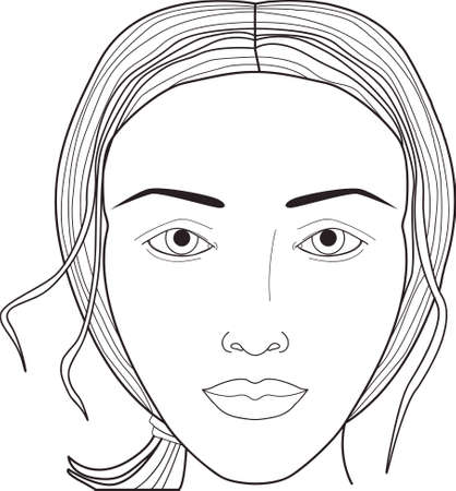 Visage de femme. Tableau de visage. Maquillage. Vecteur Banque d'images - 43753123