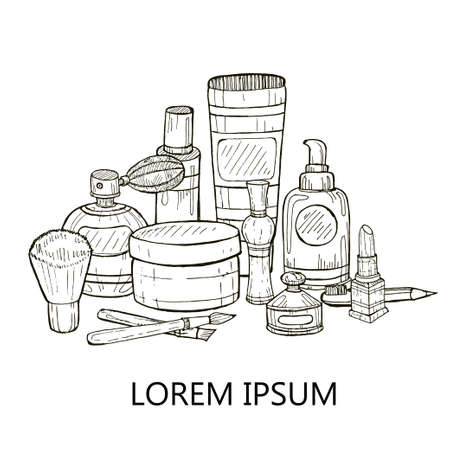 makeup products: Set of make-up products and perfumes. Vector hand drawn make-up collection.