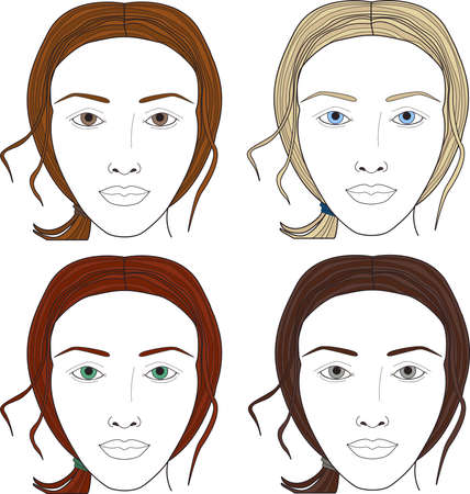 Face Charts Set Woman Face Different Color Of Eyes And Hair