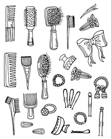 hairstyling: Set of hand drawn hairbrushes and accessories. Hand drawn vector hair styling collection