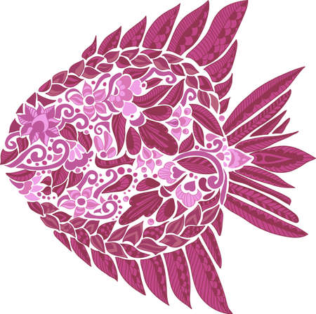ornamented: Composition with cute abstract fish ornamented with colorful flowers and leaves. Hand-drawn floral fish. Vector