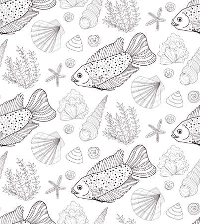 ocean background: Vector hand drawn seamless pattern with fish, shells and seaweeds. Ocean background.