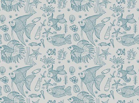 Vector hand drawn seamless pattern with fish, shells and seaweeds. Ocean background.