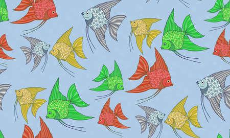 scalar: Seamless pattern with cute fish. Scalar.