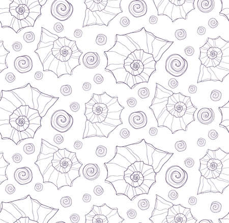 ocean background: Cute seamless pattern with hand drawn shells. Ocean background. Vector Illustration