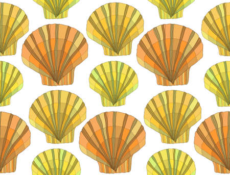 ocean background: Cute seamless pattern with colorful hand drawn shells. Ocean background. Vector