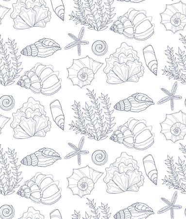 ocean background: Cute seamless pattern with hand drawn shells and algae. Ocean background. Vector Illustration