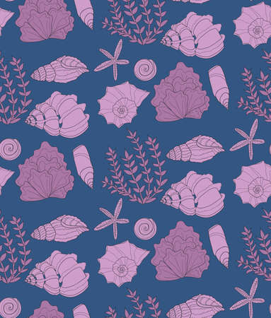 Cute seamless pattern with hand drawn shells and algae. Ocean background. Vector Ilustracja