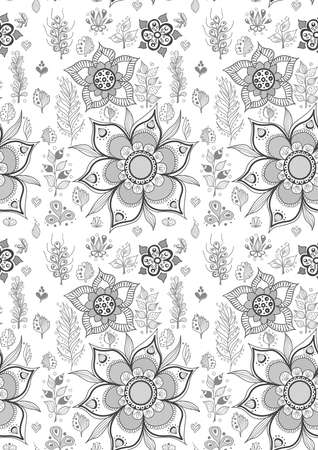 Seamless pattern with cute hand drawn flowers. Vector Illustration
