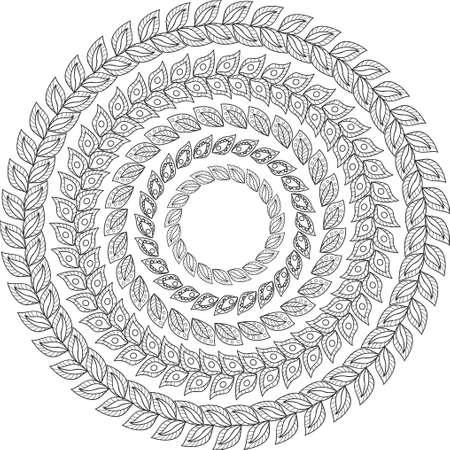 Set de 5 images rondes avec des feuilles abstraites Banque d'images - 43849403