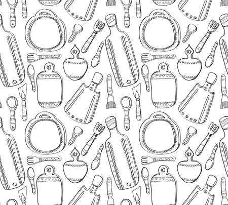 ladles: Seamless pattern with cute hand drawn kitchen utensils. Cutting boards, ladles, spoons, spatula. Hand drawn vector background. Illustration