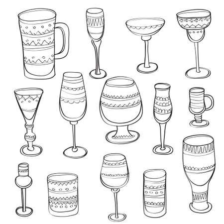 copa de vino: Conjunto de mano lindo dibujado copas adornado por unas bebidas diferentes. Vidrio de cerveza, copa de vino y tazas aisladas colección de iconos dibujados a mano. Ilustración del vector.