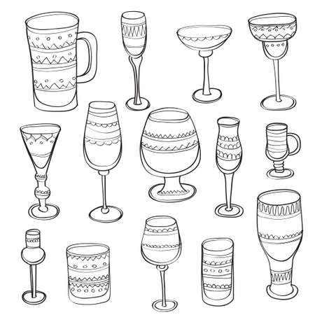 Set of cute hand drawn ornate stemware for a different drinks. Beer glass, Wine glass and cups isolated hand drawn icons collection. Vector illustration.