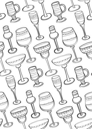 stemware: Seamless pattern with cute hand drawn ornate stemware for a different drinks. Vector illustration.