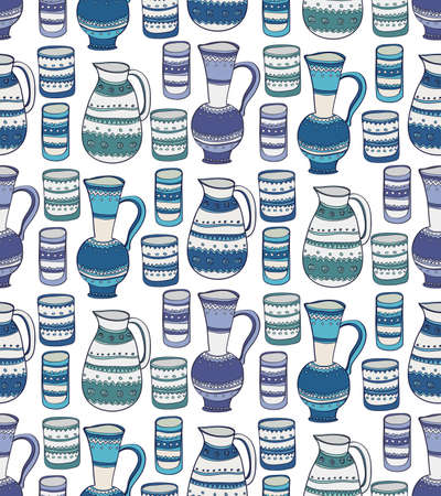 crock: Seamless pattern with cute hand drawn pitcher and cups. Kitchen background in doodle style. Vector Illustration