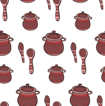 pans: Seamless pattern with cute hand drawn ornate kitchen pans and spoons. Doodles colorful collection. Vector Illustration