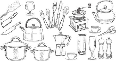 pepper mill: Set of cute hand drawn kitchen tools. Doodles collection. Vector