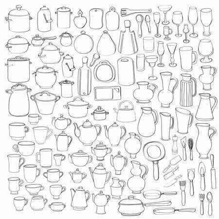 pans: Big set of 98 cute hand drawn kitchen tools including different versions of casseroles, teapots, cups, glasses, cutting boards, pans, pots, and others. Doodles outline collection. Vector