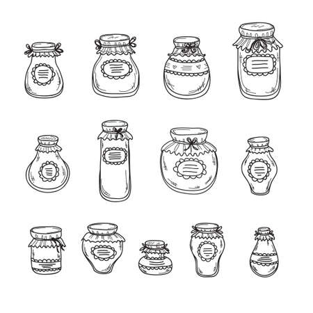 jams: Set of hand drawn jars different shape with jams. Vector