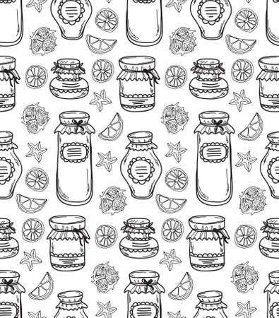 jams: Cute seamless pattern with hand drawn jars different shape with jams. Vector Illustration