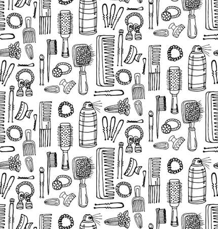 hairstyling: Seamless pattern with hairbrushes and accessories. Hand drawn vector hair styling collection. Vector