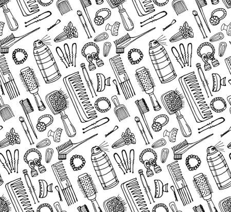 styling: Seamless pattern with hairbrushes and accessories. Hand drawn vector hair styling collection. Vector