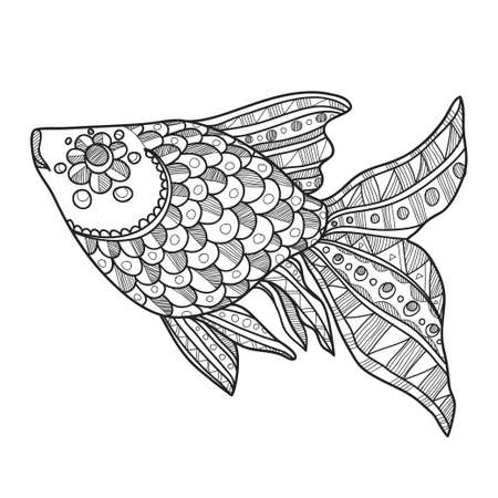 ornamented: Composition with cute abstract fish ornamented with lines and circles. Hand-drawn abstract fish. Vector