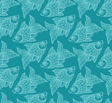 ornamental fish: Seamless pattern with cute hand drawn ornamental fish. Vector Vettoriali