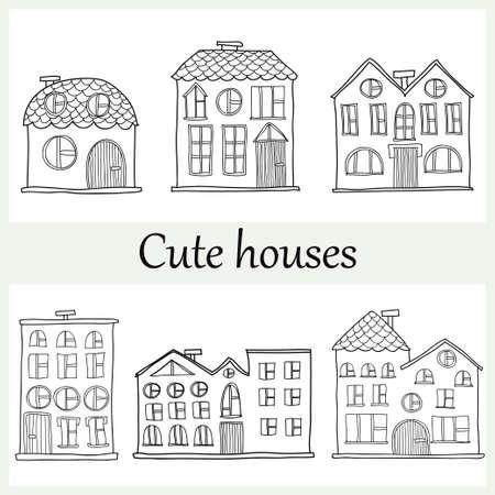 Set of cute hand drawn abstract houses. Vector Иллюстрация