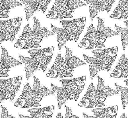 ornamental fish: Seamless pattern with cute hand drawn ornamental fish. Vector Illustration