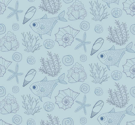 oceanside: Vector hand drawn seamless pattern with fish, shells and seaweeds. Ocean background.