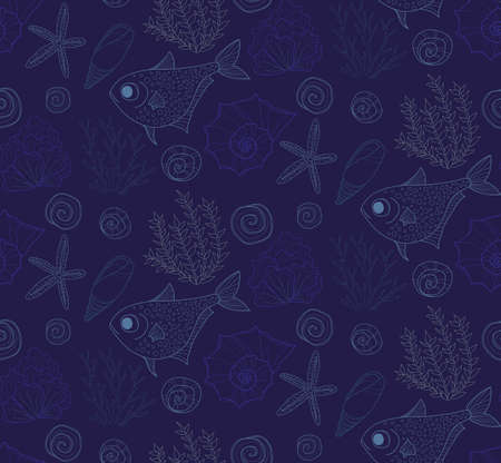 seaweeds: Vector hand drawn seamless pattern with fish, shells and seaweeds. Ocean background.