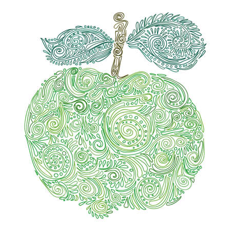 ornamented: Composition with cute abstract apple ornamented with curls. Hand-drawn apple. Vector Illustration