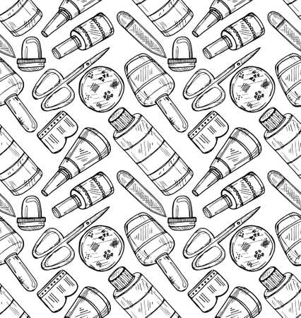 health beauty: Seamless pattern with manicure equipment and accessories. Hand drawn vector manicure collection. Illustration