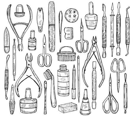 cuticle: Big set of manicure equipment including 34 tools: scissors, cuticle nipper, nail files, nail polish, nail clippers, pushers etc. Hand drawn vector manicure collection