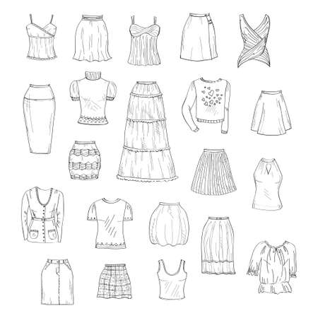 spaghetti strap: Vector set of hand drawn doodles of womens clothes including different types of skirts and tops Illustration