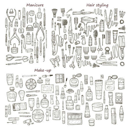 cuticle pusher: Big set of 146 beauty  products and tools including make-up products and perfumes, hair styling and manicure tools. Vector hand drawn outline beauty collection.