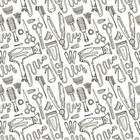 Seamless pattern with hair styling tools and accessories  . Fashion background. Vector