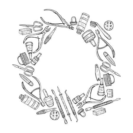 Cute hand drawn circle frame with manicure tools including scissors, nail polish, nail clippers, pushers  and others. Vector