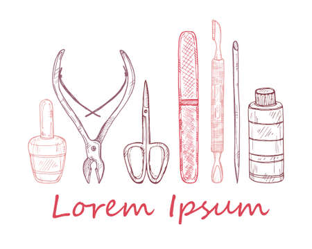 Set of manicure tools. Vector hand drawn manicure collection. Illustration