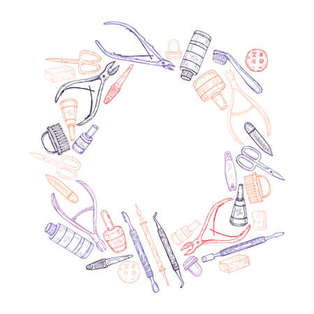 footcare: Cute hand drawn circle frame with manicure tools including scissors, nail polish, nail clippers, pushers  and others. Vector