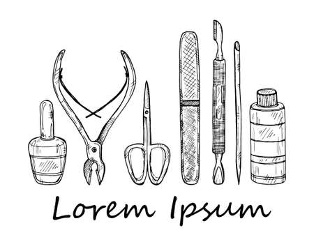 clippers: Set of manicure tools. Vector hand drawn manicure collection. Illustration