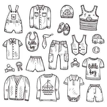 shirt and tie: Set of cute hand drawn clothes for baby boy including shirt, tie, shoes, shorts, pants, jackets and others. Childish clothes collection. Vector